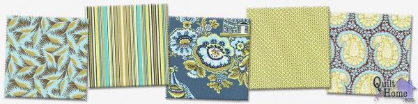 Amy Butler—Belle—Earth & Sky Palette : AB01-Okra, AB05-Okra, AB06-Turquoise, AB03-Okra, AB04-Okra