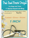 1 SET - 1″ Swivel Hook and D Ring - SILVER NICKEL Hardware Kit by Pink Sand Beach Designs