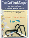 1 SET - 1″ Swivel Hook and D Ring - BLACK NICKEL Hardware Kit by Pink Sand Beach Designs