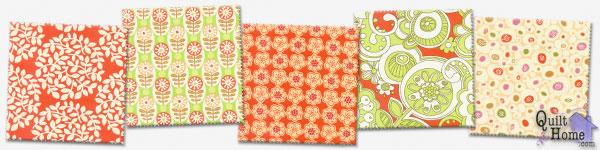 Park Slope by Erin McMorris—Orange Creamsicle : EM08-Orange, EM05-Lime, EM06-Orange, EM01-Orange, EM07-Ivory