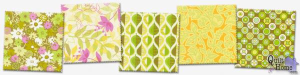 Wildwood by Erin McMorris—Orange Sorbet : EM11-Green, EM09-Fuchsia, EM10-Green, EM12-Gold, EM19-Olive