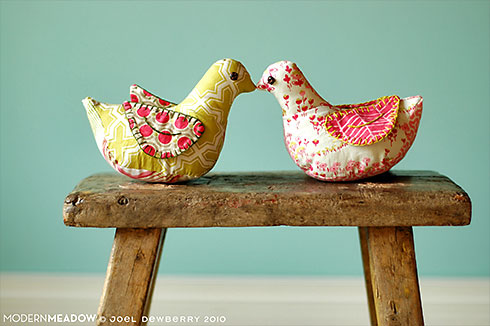 Kissing Birds (featuring Modern Meadow fabric, pattern is from Joel Dewberry's Sewn Spaces book)