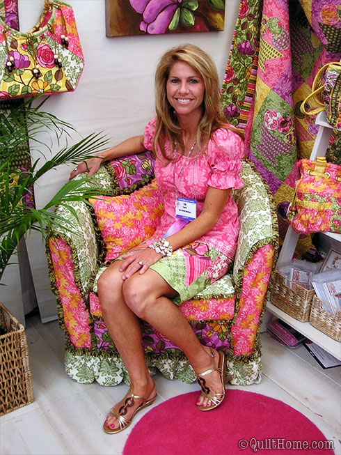 Lila Tueller in her booth at QuiltMarket