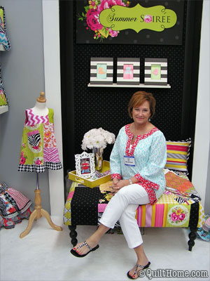 Paula Prass in her Quilt Market Booth