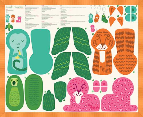 Jungle Paradise Stuffed Animals Panel by Stacy Iest Hsu