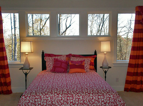 bedroom decorated in Vicki Payne's For Your Home fabrics